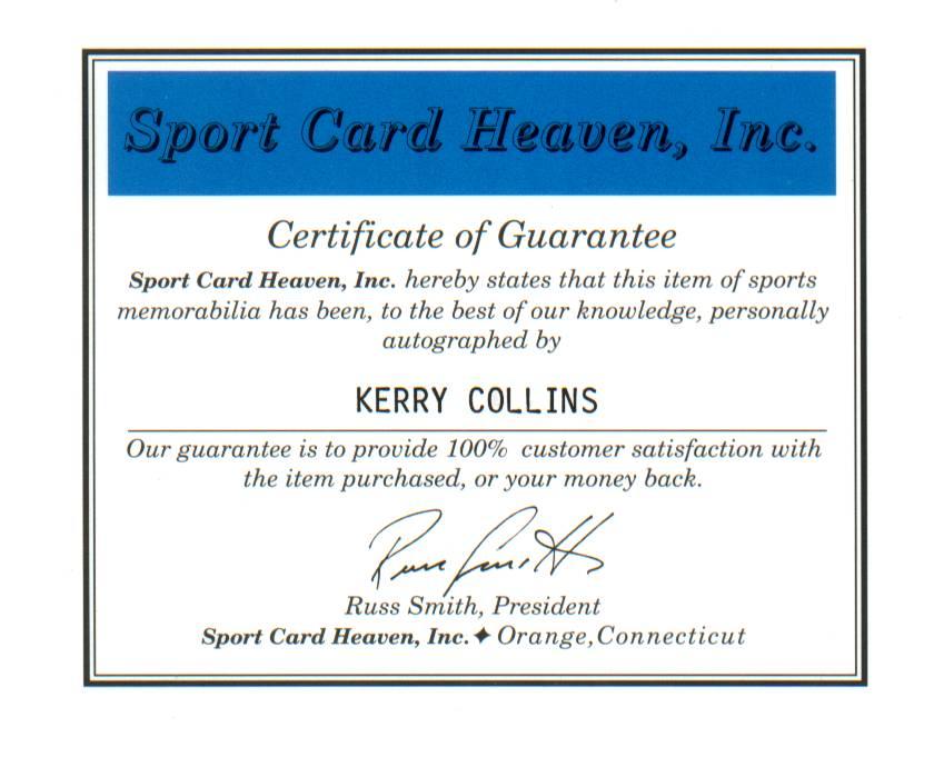 Kerry Collins COA